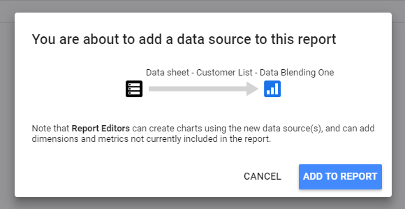 Blending data in Google Data Studio.