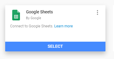 Choose Google Sheets as your data source in Data Studio