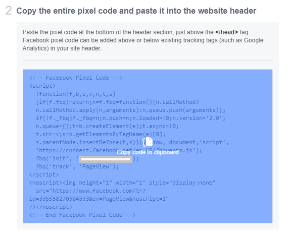 Copying the entire pixel code that you will paste into google tag manager