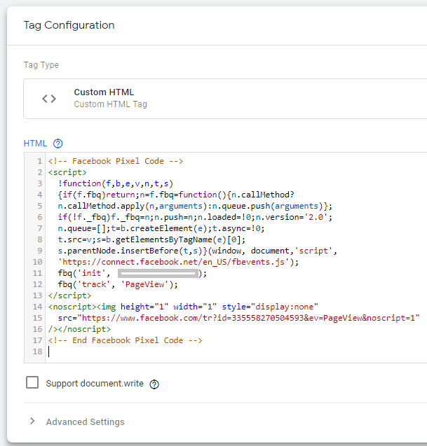 Copy the Facebook pixel code into the Custom HTML tag in Google Tag Manager