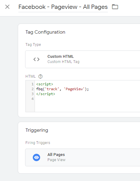 Showing your FB pixel tag in GTM