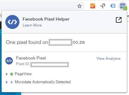 Shows that one pixel was found on the site using the Facebook Pixel helper
