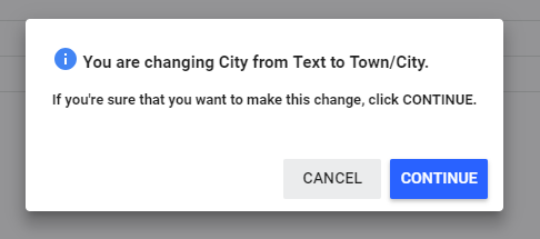 Changing City from text to Town/City