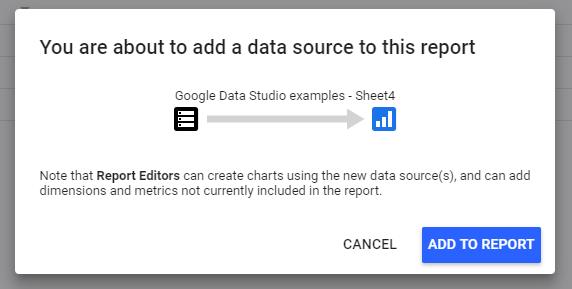 Adding a data source to the data studio report