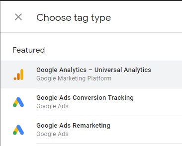 Choosing the Google Analytics tag type