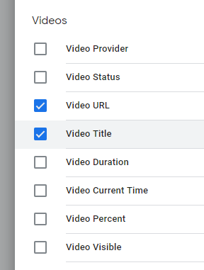 Choosing the Video variables in Google Tag Manager