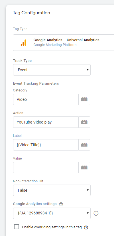 Configuring the tag to track YouTube video views using Google Tag Manager