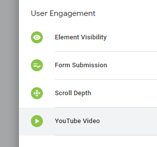 Choosing the YouTube Video trigger type in Google Tag Manager