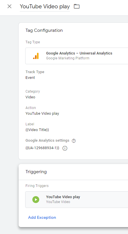 Setting up the tag to track YouTube video views using Google Tag Manager
