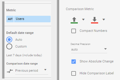 Adjusting the comparison metrics to create a Mobile-Friendly Google Data Studio report.