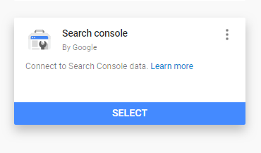 Adding Search Console as a Data Source