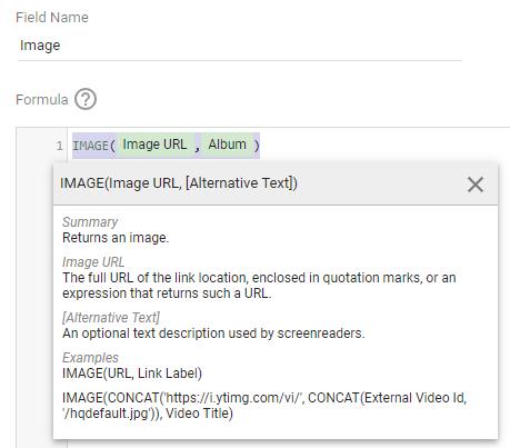 A description of the IMAGE function in Google Data Studio