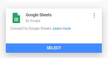 Choosing Google Sheets as the data source in Data Studio.
