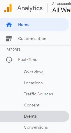 Google Analytics - Real-Time - Events menu option