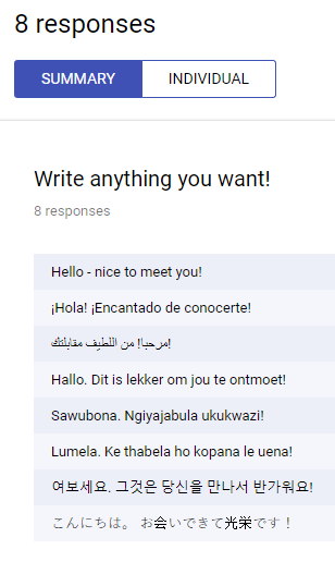 Google form responses in different languages.