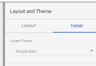 Changing the theme to Simple Dark in Data studio.