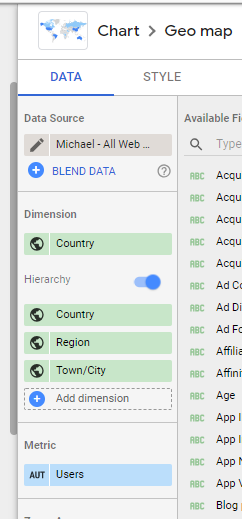 Setting up the Data tab to use the new hierarchy feature in Data Studio to drill down into data.