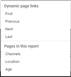 And image showing How to add Dynamic Page Links in Google Data Studio
