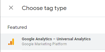 Choose the Google Analytics tag type in Google Tag Manager GTM
