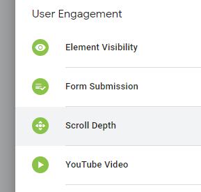 Choosing the Scroll Depth trigger type