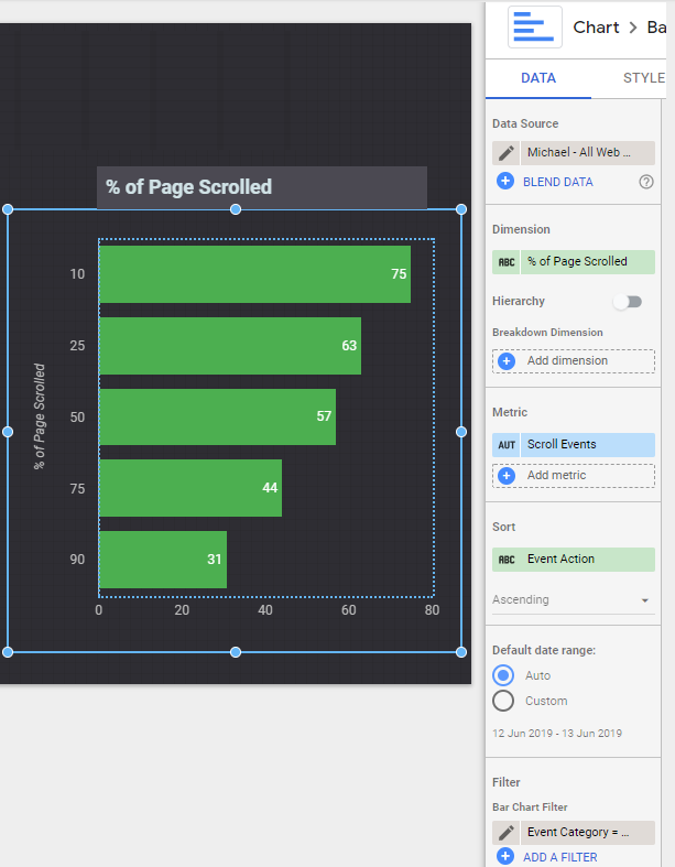 Creating a bar chart to measure Page Scrolling in Google Data Studio