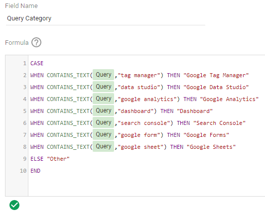 Google Search Console CASE statement to create custom Search Query Categories