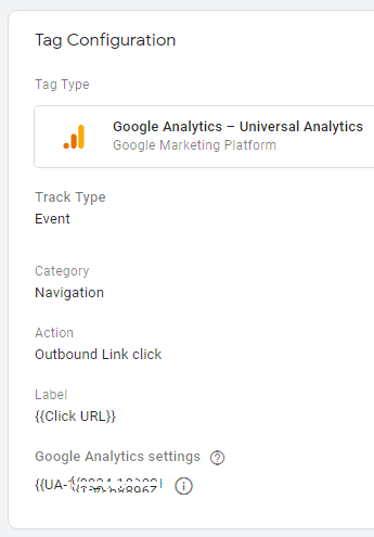 Google Tag Manager tag - Outbound Links.  Used for tracking Internal and Outbound link clicks