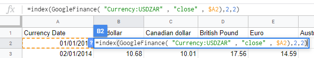 A Google Finance formula in Google Sheets