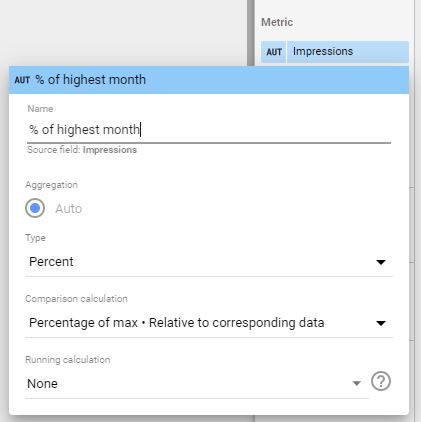 How to add a metric as Percentage of Max - relative to corresponding data in google data studio using search console data