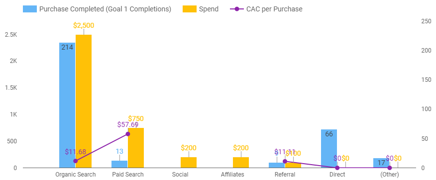 A chart showing Customer Acquisition Cost per purchase, purchases and spend per marketing channel