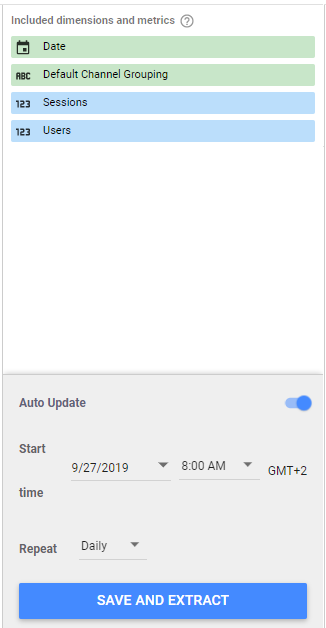 We can save and extract this data. Notice the Auto Update feature is enabled.