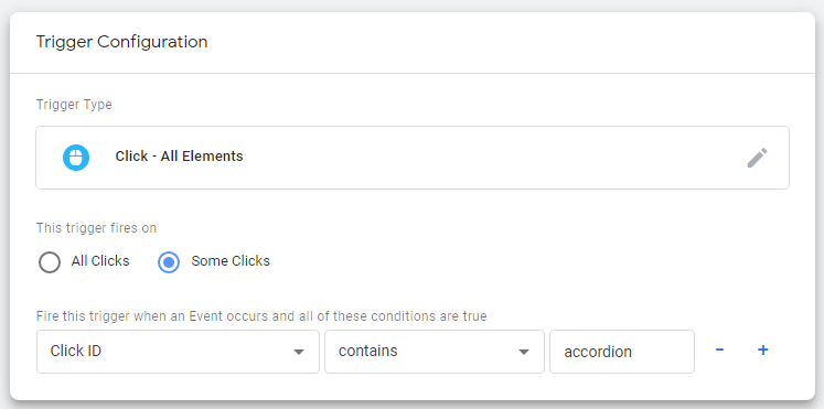 Creating the Click - Accordion Click trigger in Google Tag Manager