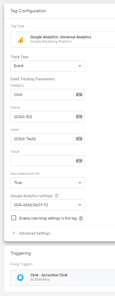 Creating the Google Analytics Accordion click event tag in google tag manager which will track accordion clicks