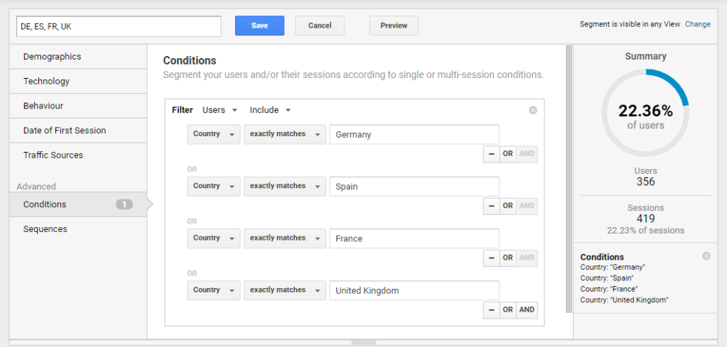 Creating a custom Google Analytics segment with users from Spain, Germany, France and the United Kingdom