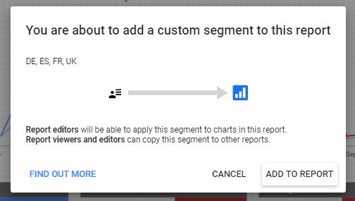 Adding a custom segment to a report in data studio