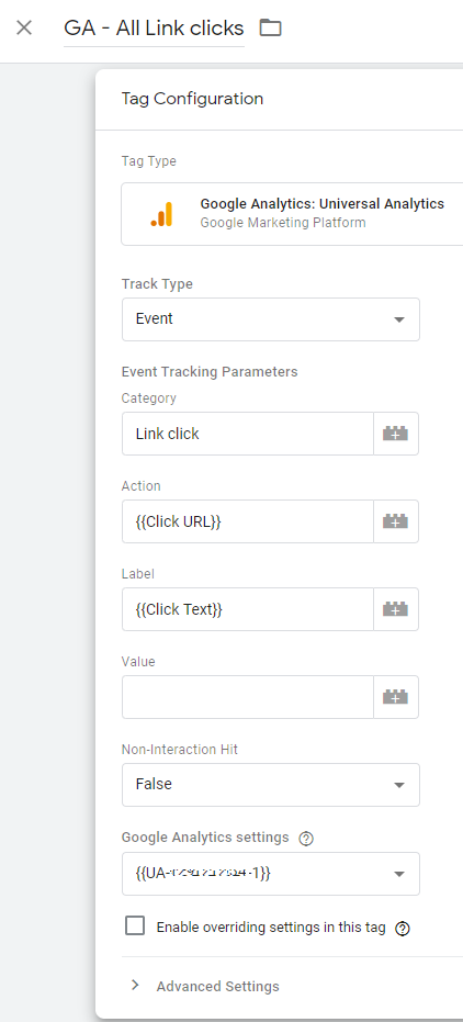Google Analytics - all link clicks tag in google tag manager
