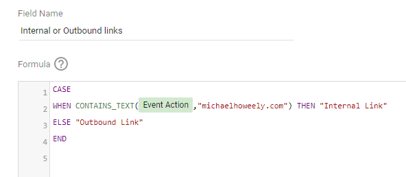 A CASE statement in google data studio. Allows you to have a tag that track all Link Clicks and differentiate in Data studio