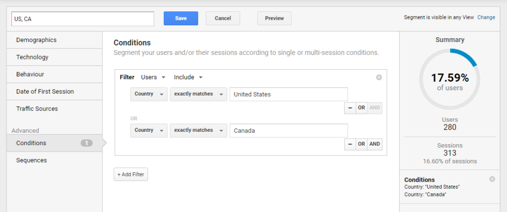 Creating a segment including only users from the United States and Canada.