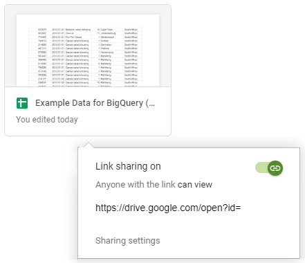 Once we've clicked 'Get shareable link' we will see the display below that says 'Link sharing on'.