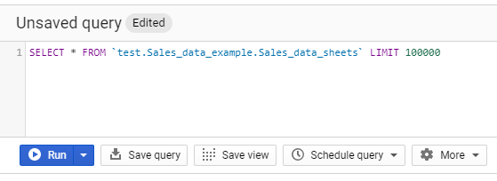 We then get a SQL query that appears. You will likely need to add in an asterisk * so your query reads;