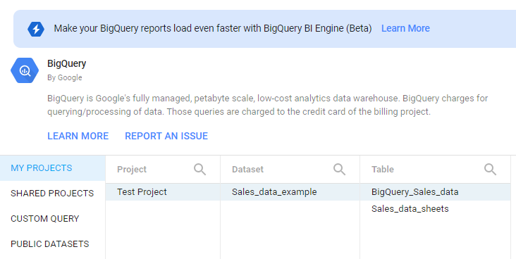 """Find the correct table. In this case it's """"BigQuery_Sales_data"""". We can see the hierarchy of Project > Dataset > Table on display when adding data to the report."""
