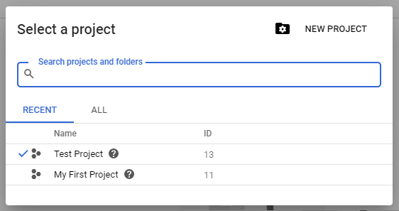 Selecting a new project with Google BigQuery
