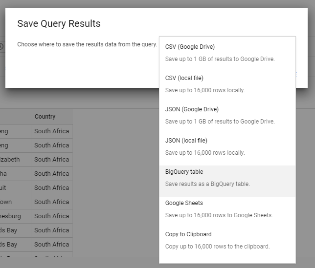 """We have various options when saving the file. What we want is to save the results as a """"BigQuery table""""."""