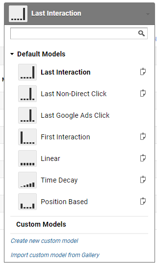 Showing the different types of models in Google Multi-channel funnels model comparison tool