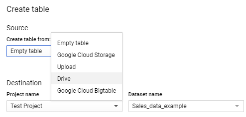 The first step is to choose where we will be getting our data from. As mentioned earlier, we have a large Google Sheet that has over twenty thousand rows of data. We want to connect to this sheet.