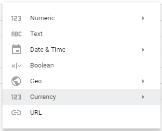 changing the field type to currency in google data studio