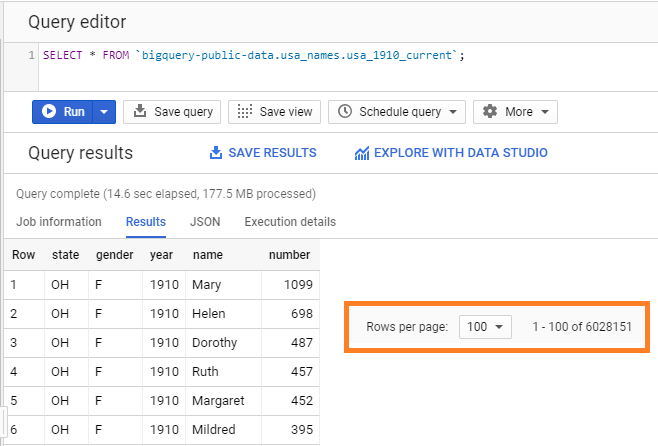 Query editor in Google Big Query showing the number of rows per page. SQL Queries in BigQuery.
