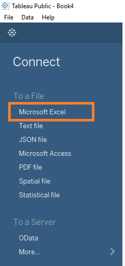 Adding a Microsoft Excel file to Tableau