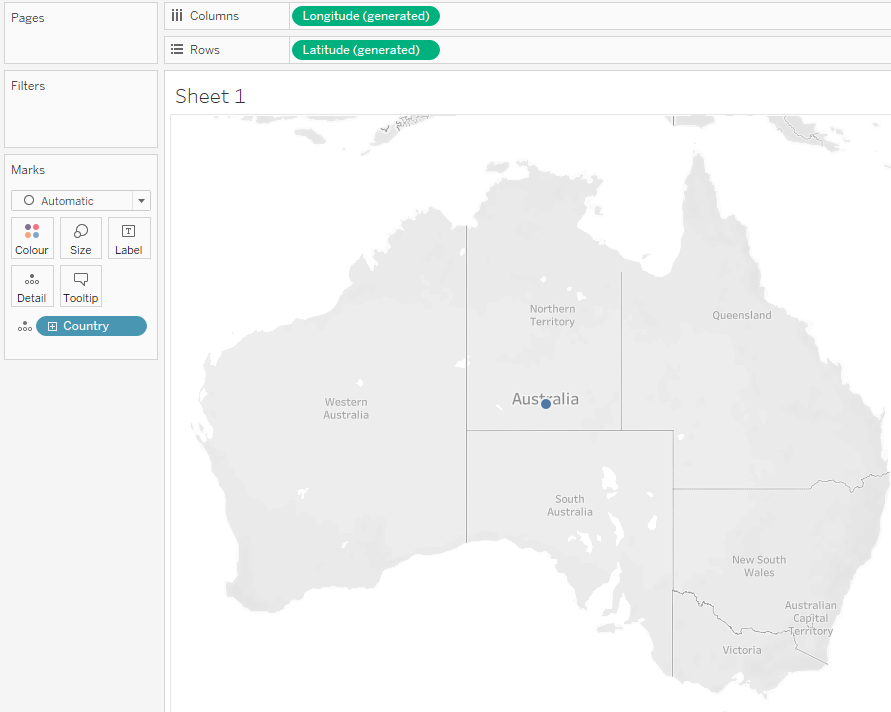 We can start off by dragging Country onto our Sheet. Flight Path Map in Tableau