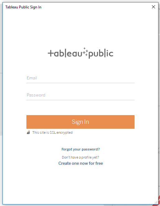 Signing in to tableau public